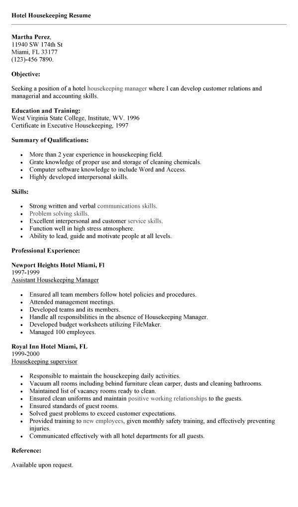 Resume Example Housekeeping Resume Format. Housekeeping Supervisor .