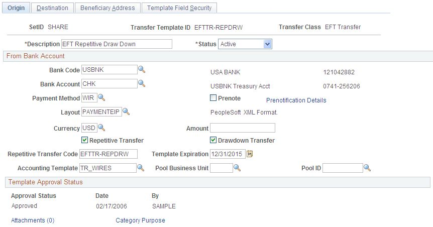 Creating and Approving Funds Transfer Templates