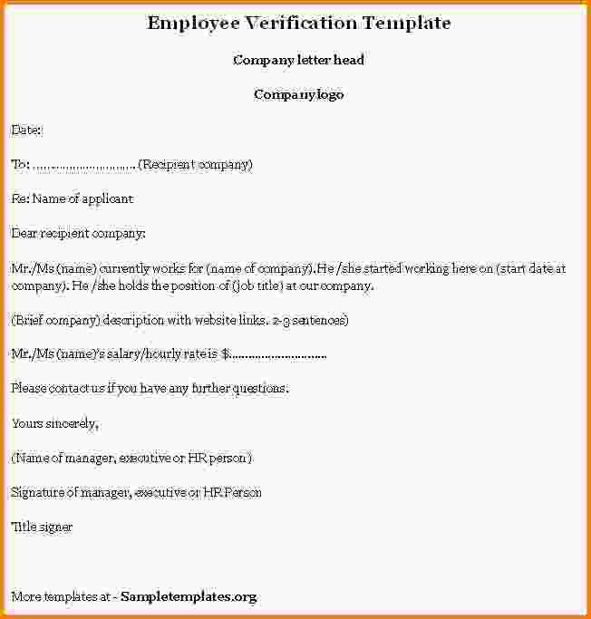 4+ employment verification letter template - LetterHead Template ...