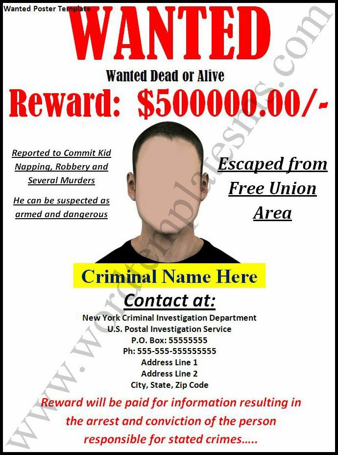 Wanted Poster Template Download Page | Word Excel Formats