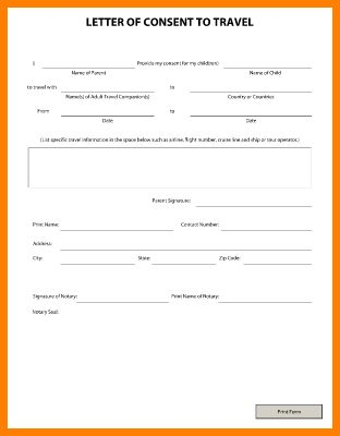 11+ child travel consent form | Card Authorization 2017