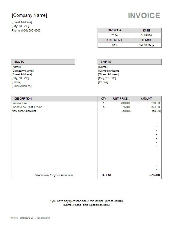 Download a free Billing Invoice Template for Excel, designed for ...