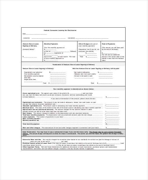 Vehicle Lease Template - 5+ Free Word, PDF Documents Download ...