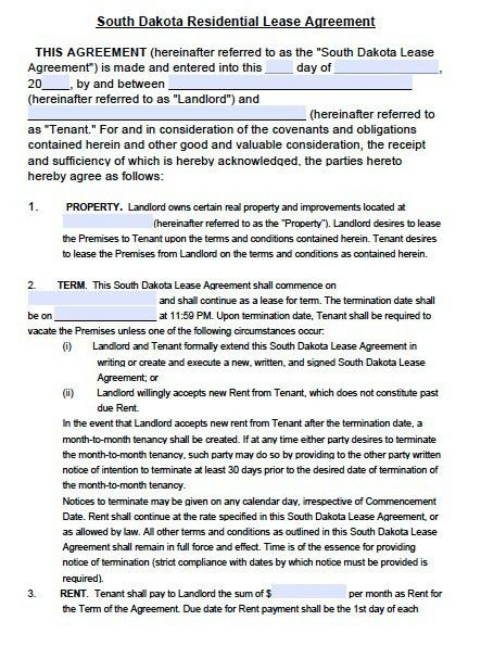 Free South Dakota Residential Rental Agreement Form – PDF Template