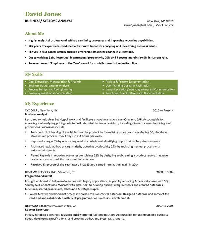 business systems analyst resume examples
