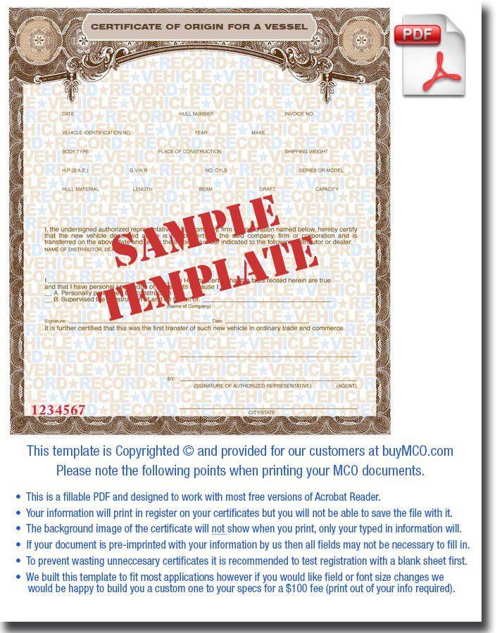 MCO Template for Vessel • Buy Manufacturer Certificate of Origin's