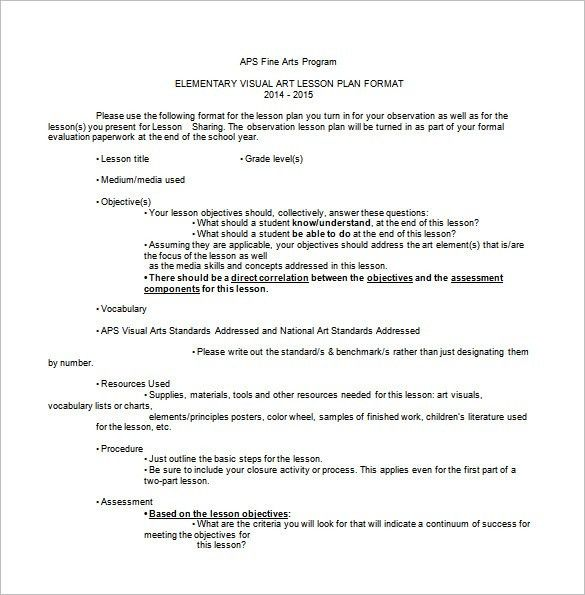 Art Lesson Plan Template - 3 Free Word, PDF Documents Download ...