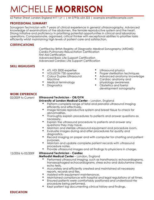Ultrasound Resume - Resume Example