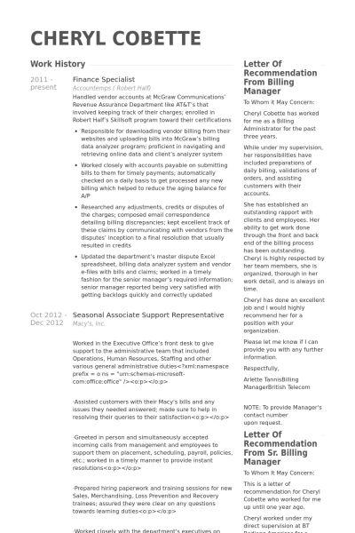Finance Resume samples - VisualCV resume samples database