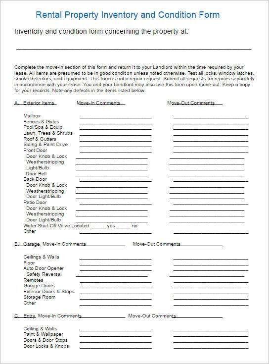 Inventory List For Landlords [Nfgaccountability.com ]