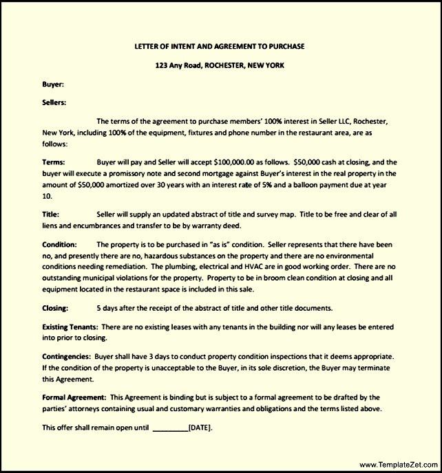 Sample Letter of Intent to Purchase | TemplateZet