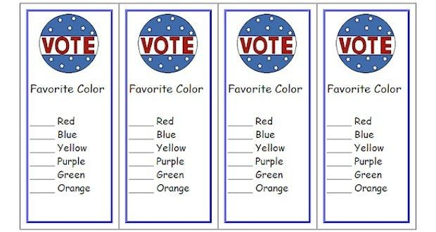 Free Voting Ballot Bookmarks Classroom Printable