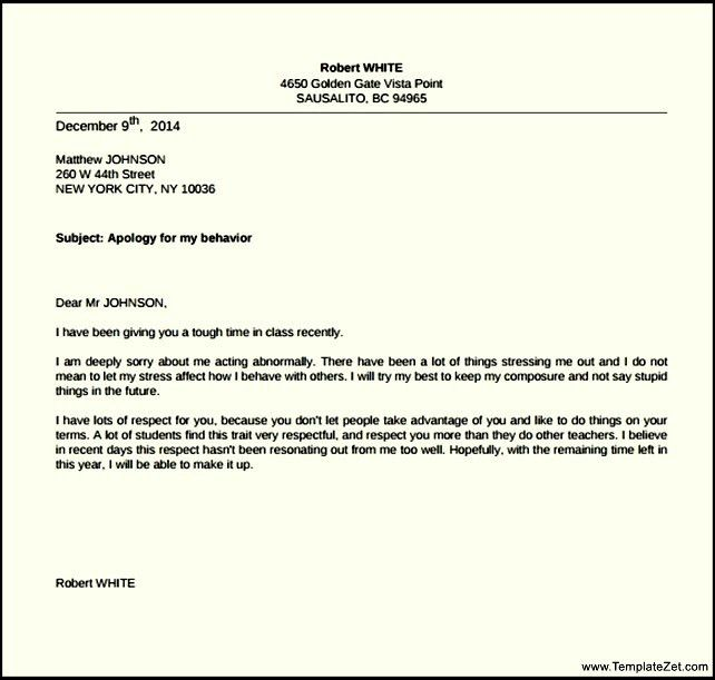 Free Apology Letter to Teacher | TemplateZet