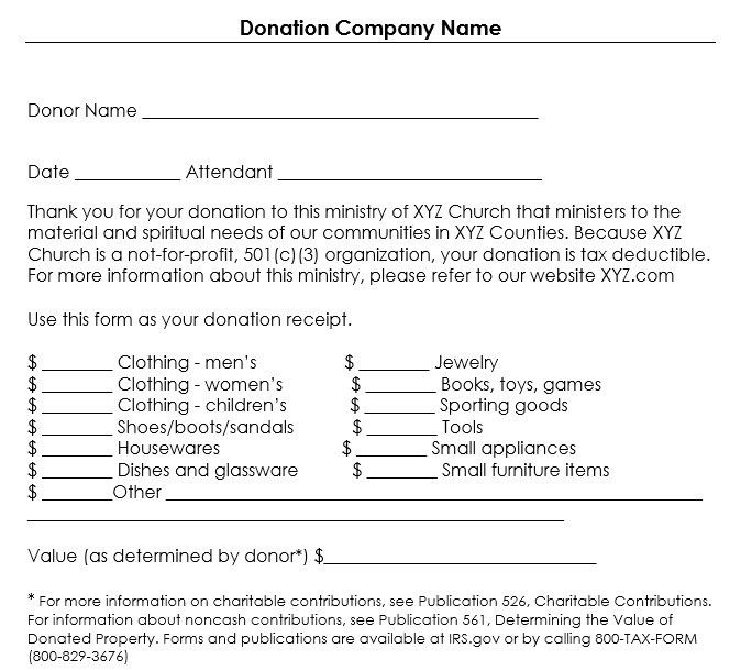 12 Free Sample Donation Contribution Receipt Templates – Printable ...