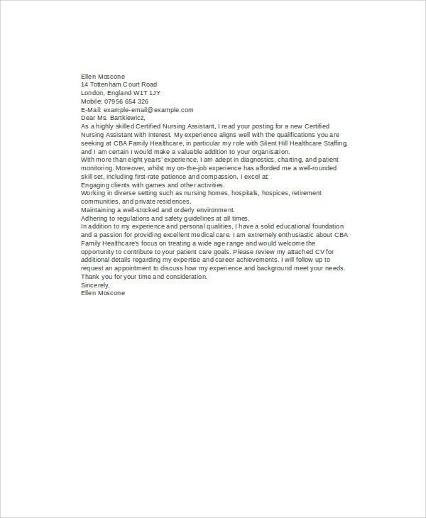 8+ Nursing Cover Letter Example - Free Sample, Example, Format ...