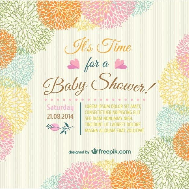 Baby shower floral invitation card Vector | Free Download
