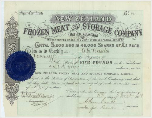Frozen meat company share certificate – Meat and wool – Te Ara ...