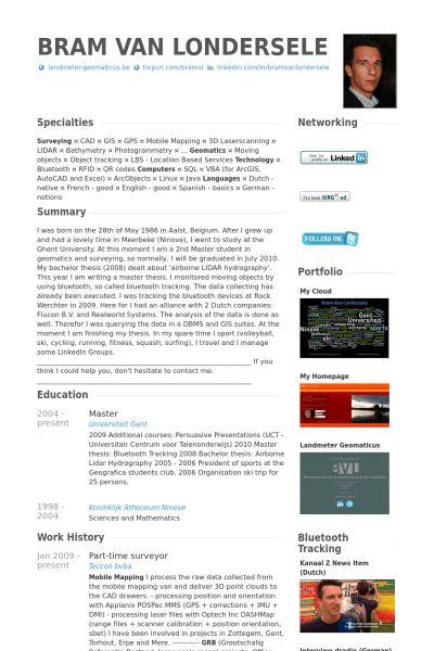 Surveyor Resume samples - VisualCV resume samples database