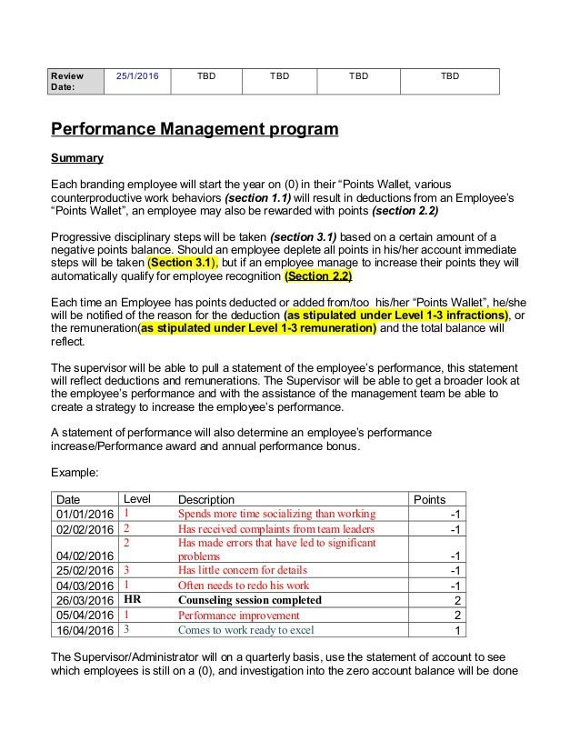 Performance pionts program Template by Florence Vorster 2016