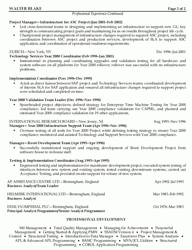 project manager cv example 7. resume project manager sample ...