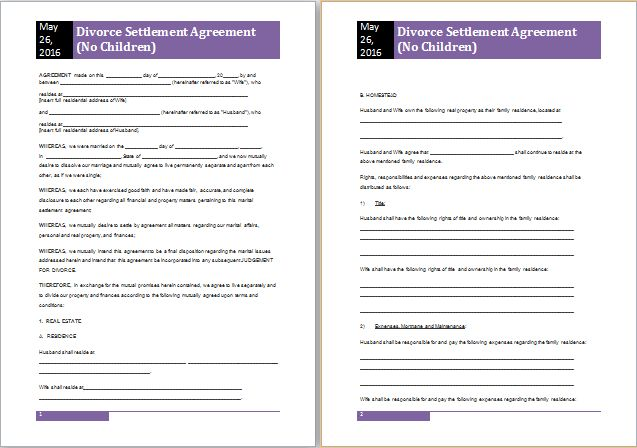 MS Word Divorce Settlement Agreement Template | Free Agreement ...