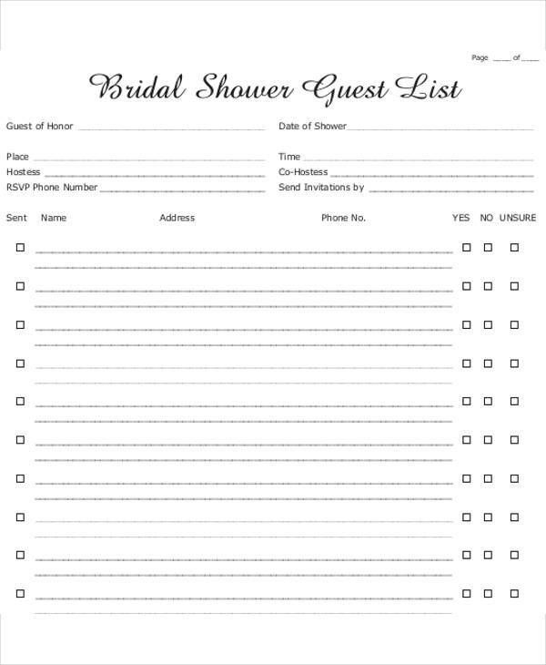Bridal Shower Gift List Templates - 5+ Free Word, PDF Format ...
