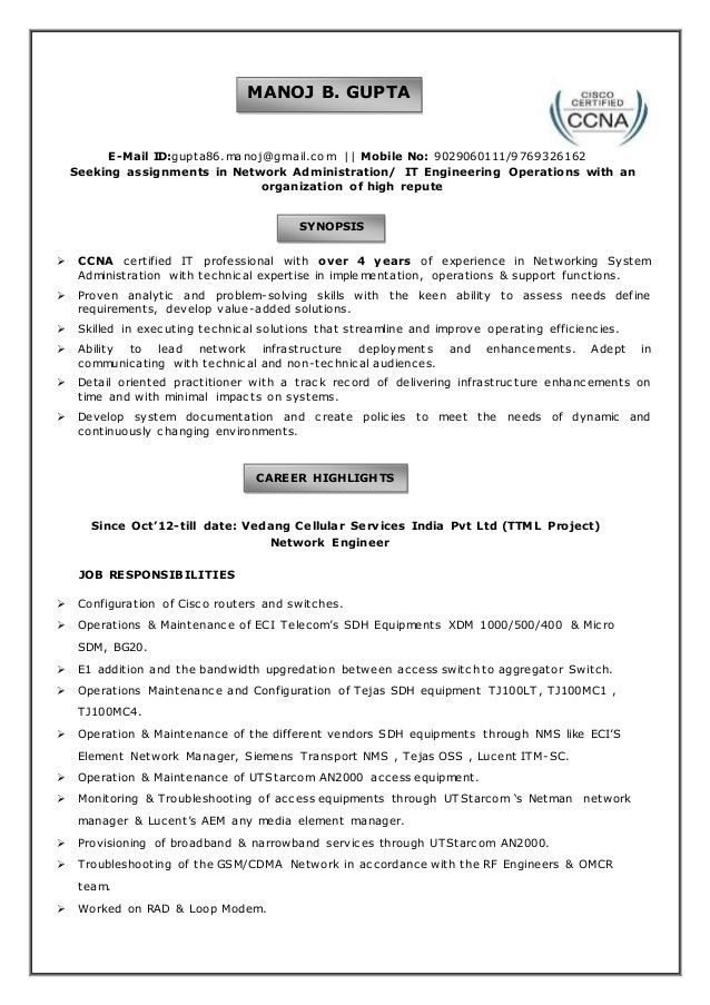 Manoj Gupta Resume-BE in Computer Engg with 4 years of Experience in …