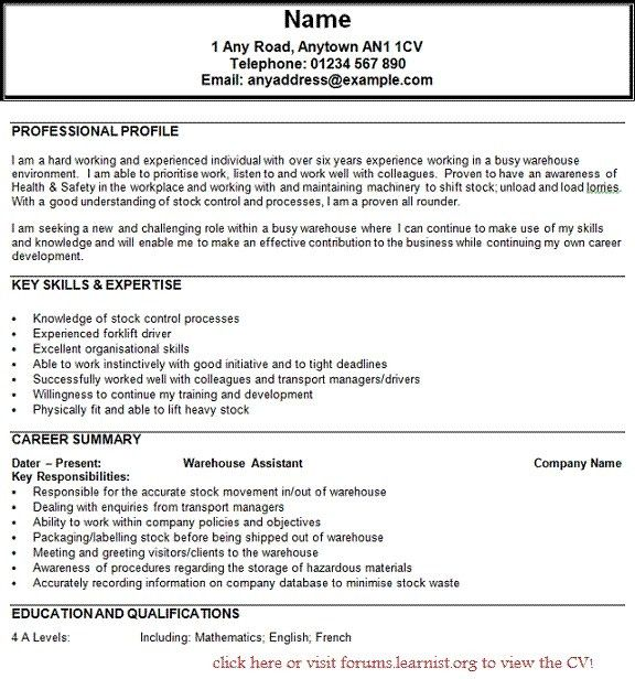 resume examples for warehouse position unforgettable warehouse