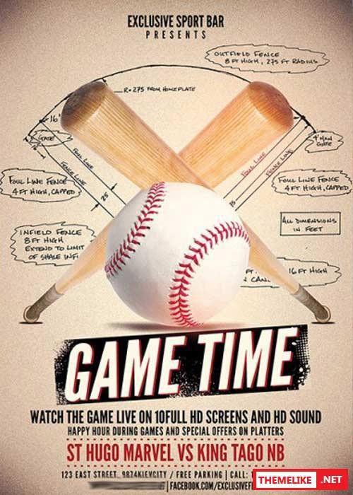 Baseball PSD Flyer Template + Facebook Cover - All Design Template ...
