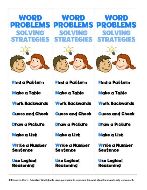 Education World: Word Problems Book Mark Template