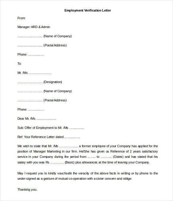 sample letter of employment verification