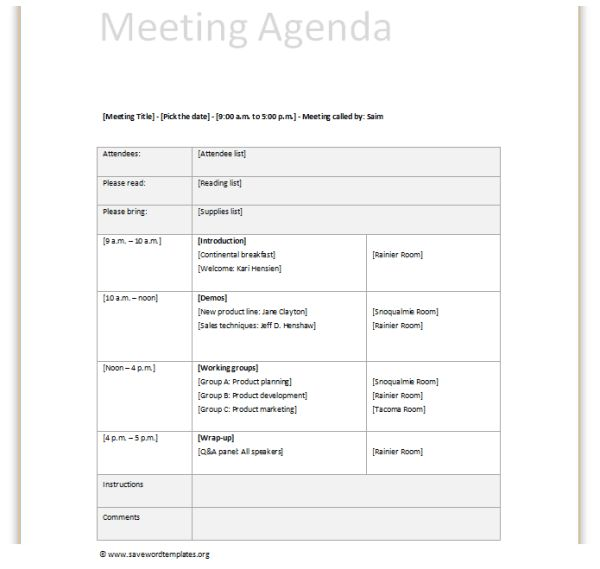 Meeting agenda | Save Word Templates