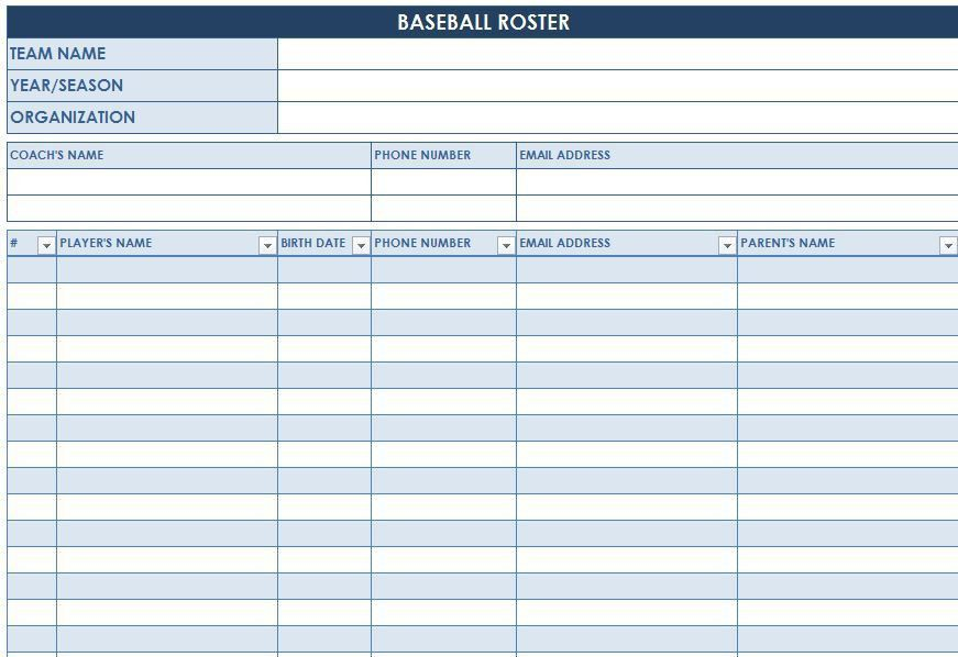 Baseball Roster Template | Baseball Lineup Templates