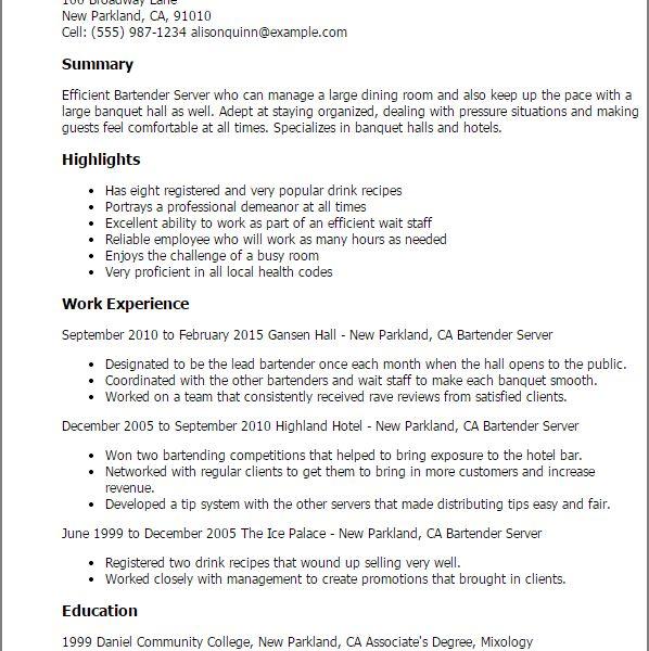 sample resume for bartender server