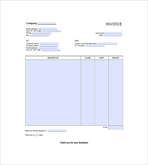 Hourly Invoice Template – 6+ Free Word, Excel, PDF Format Download ...