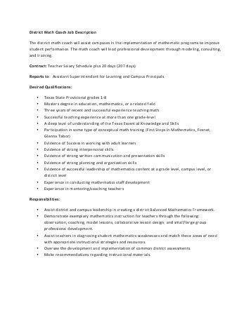 Job Description: Math Coach/TSA (Teacher on Special Assignment)