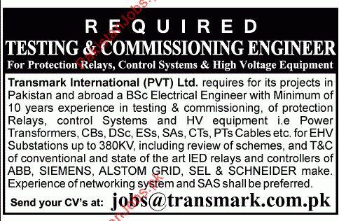 Testing & Commissioning Engineer - Transmark International (Pvt ...