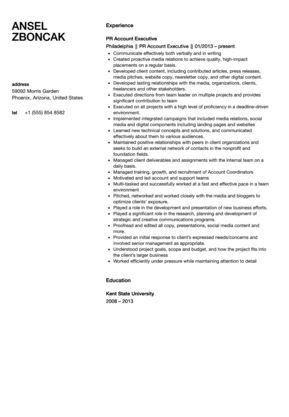 public relation executive resume relations executive resume