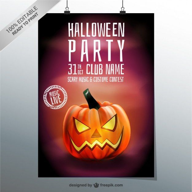 Halloween party poster template with pumpkin Vector | Free Download
