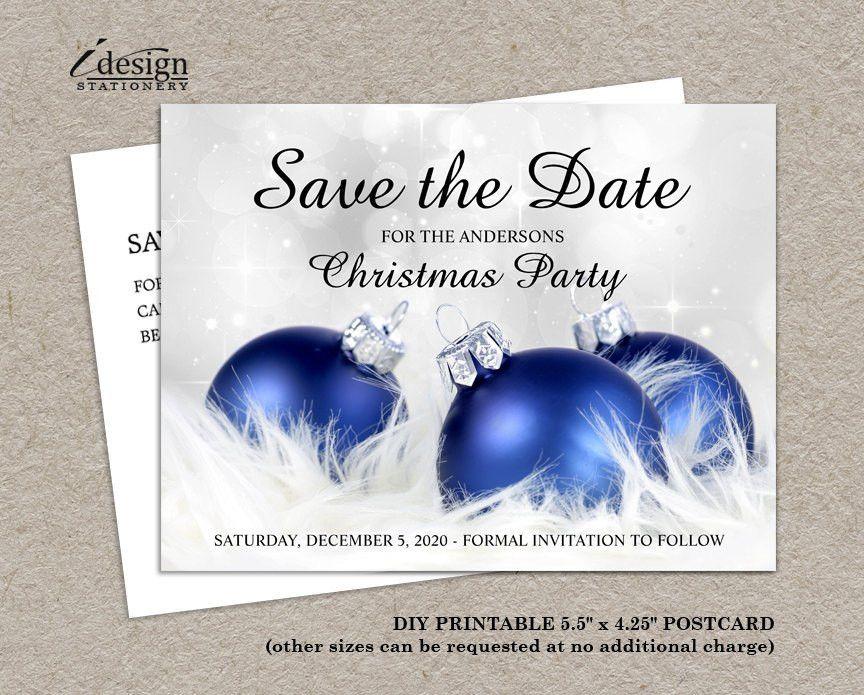 DIY Printable Christmas Save The Date Postcards Elegant
