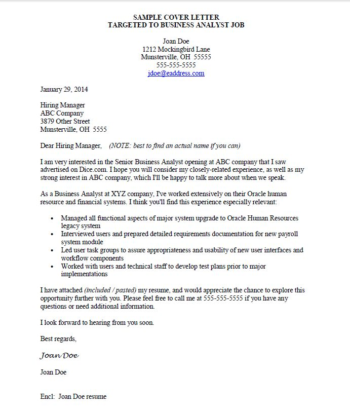 Targeted Cover Letter Sample - Best Letter Sample