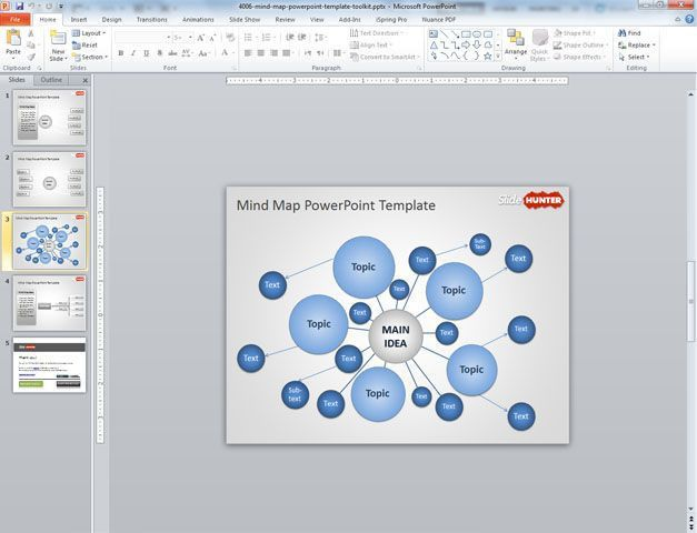 Free Mind Map PowerPoint Template Toolkit for Presentations