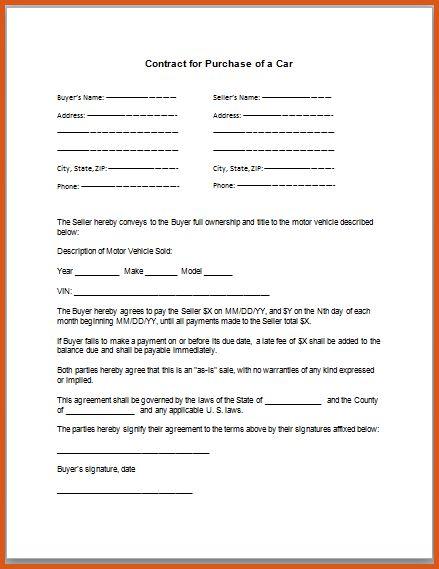 vehicle sales agreement | general resumes