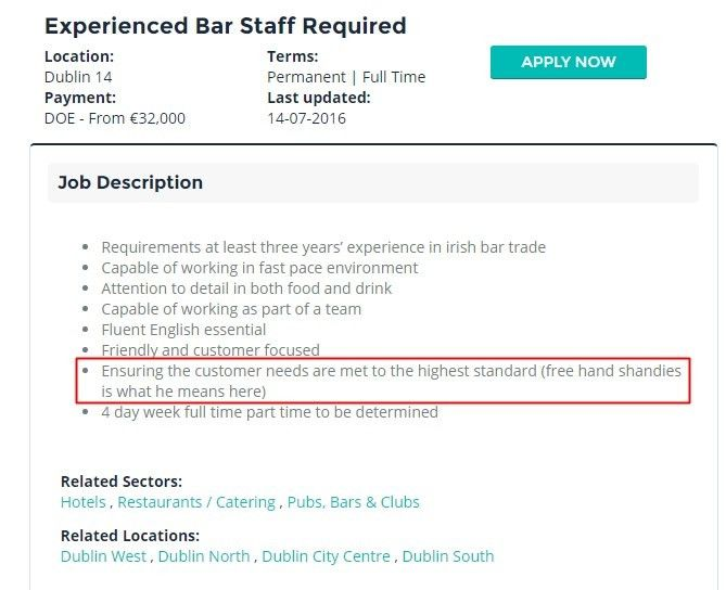 This Irish bar had the dodgiest job description ever | Her.ie