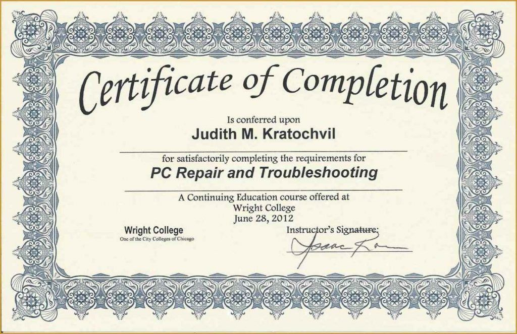 Certificate Of Completion Wording - Template Update234.com ...