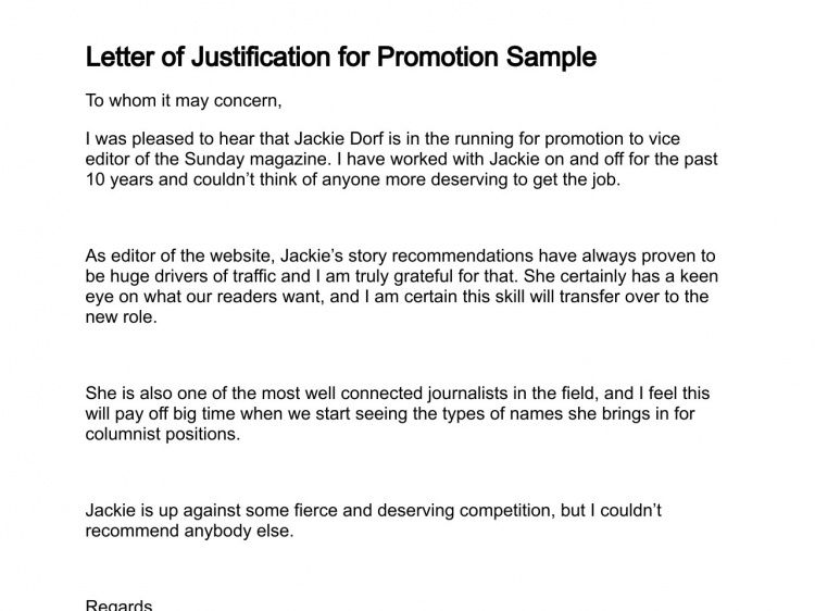 Best Photos of Justification For Promotion Letter - Job Promotion ...