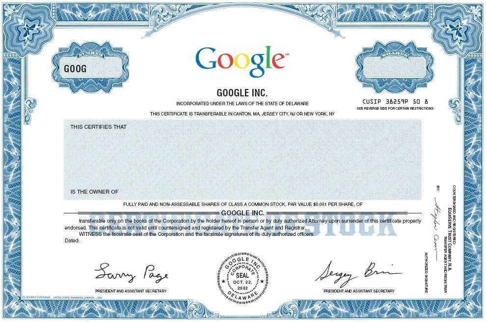 Google Stock Certificate (Larry and Sergey) - Jeremy Hermanns