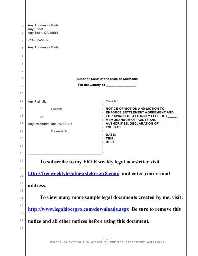 Sample California motion to enforce settlement agreement