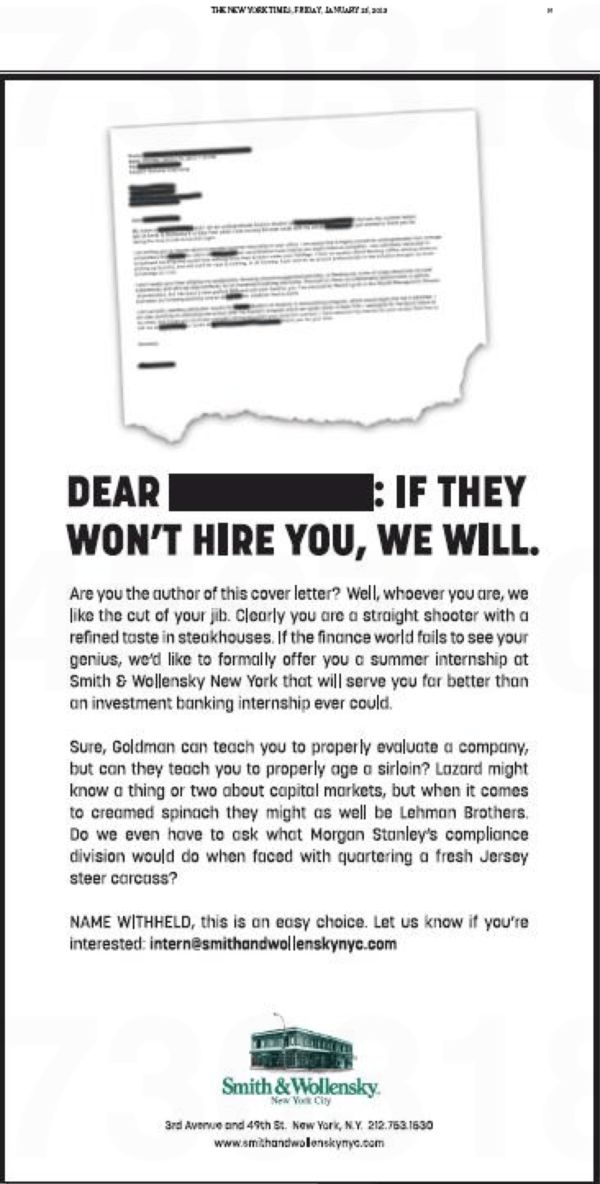 "bookofjoe: ""Best cover letter ever"" nets job offer — From Smith ..."