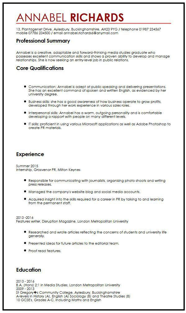CV Example for University Students|MyperfectCV